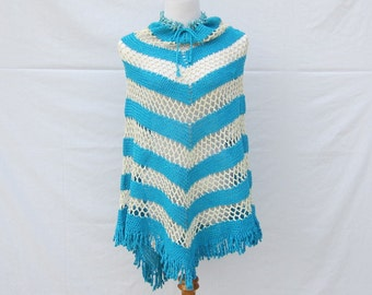 1970s Crocheted Poncho, Handmade Crocheted in Teal and White Cape Shawl with Fringe Trim.  Coverup.