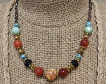 Agate stone neckalce with various color mix