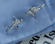 Scuba Diver Cufflinks in Sterling Silver.