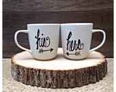 His and Hers Wedding, Engagement, Bridal Shower, Housewarming Gift Set of Two Mugs
