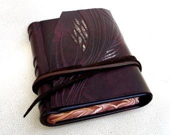 Leather Handbound Journal, Blank Sketchbook, Brown Rustic Embossed Leather, Painted Edges