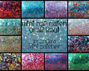 Random Mini Nail Polish Grab Bag, Glitter Holographic Rainbow Indie Nail Polish - 3 Mini Nail Polishes