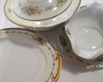 Vintage Mismatched China Serving Dishes - Set of 3