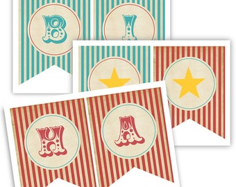 INSTANT DOWNLOAD BANNER  -  Vintage Circus Party Printable Banner - Red and Teal VIntage
