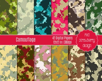 75% OFF Sale - Camouflage - 12 Digital Papers - Instant Download - JPG 12x12 (DP169)