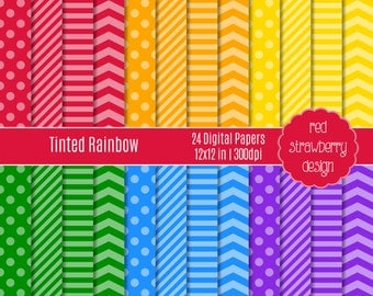 75% OFF Sale - Tinted Rainbow - 24 Digital Papers - Instant Download - JPG 12x12 (DP124)