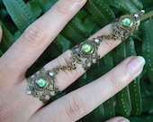 elfin armor ring triple ring peridot nail ring claw nail tip knuckle ring cosplay victorian steampunk goddess pagan witch boho gypsy style