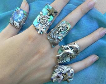 mermaid rings sea life abalone ring sea turtle dolphins starfish seahorse nautical full finger ring boho gypsy beach resort gypsy
