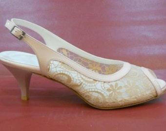 Handmade lace ivory wedding shoe  #7002