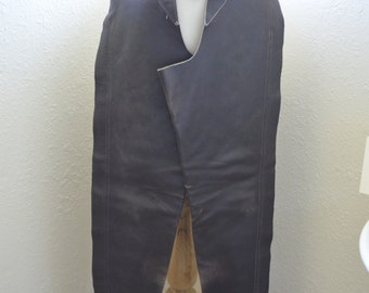 Vintage 'Barnstable' Chocolate Brown Leather English Riding Chaps - Women's XS / slim calf