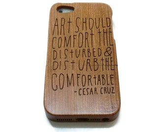 wooden iphone 5 case / iphone 5S case wood - wood iphone 5 case bamboo, cherry and walnut wood - Art should disturb