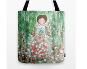 Winter Angel bag,Market Tote Bag,Whimsical tote Bag,Christmas Bag,Tote Bags,Art bags,Handmade tote bags