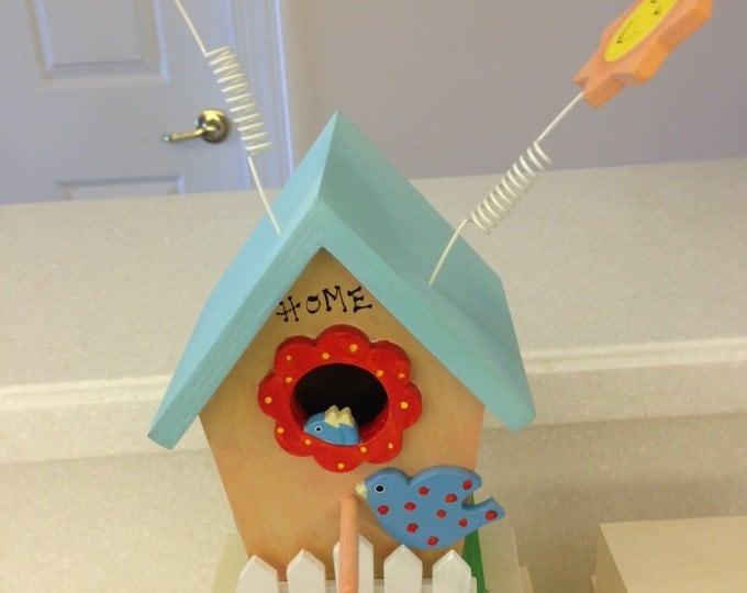 "Decorative Birdhouse with ""Springy"" Bird and Sun on Top"