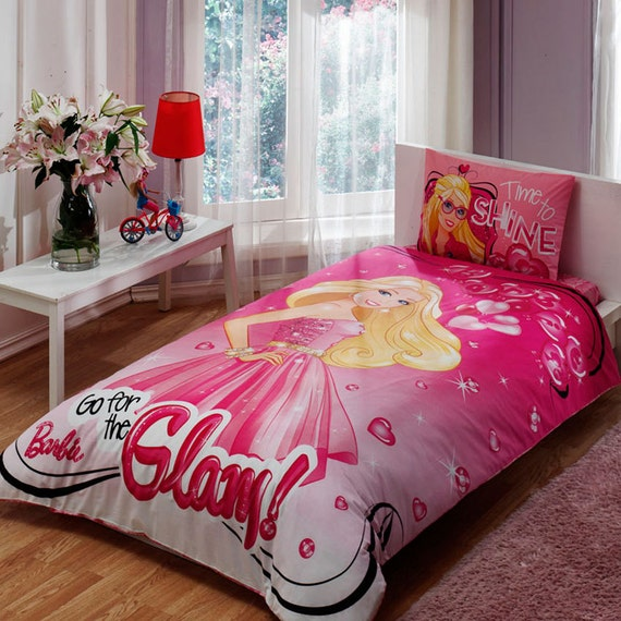 barbie glam bedding set single twin by baharhometextile on etsy