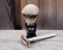 Personalized Double Edge Safety Razor Shaving Set with Shaving Brush, Blades, & Soap