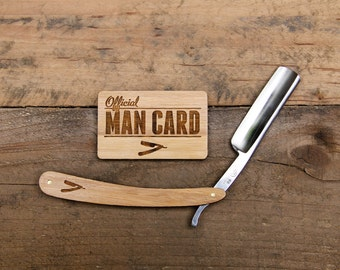 Personalized Straight Razor with Man Card Travel Strop - Vintage Shaving Set - Grooming Set - Gifts for Men - Groomsmen Gifts