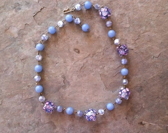 Vintage Glass Beaded Necklace in Shades of Powder Blue