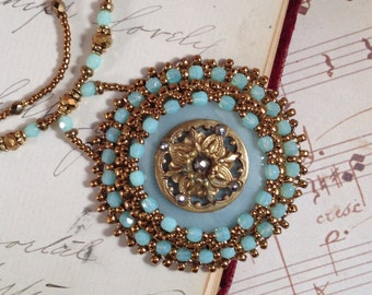 Bead embroidered Vintage Antique Victorian button Necklace Bead embroidered Art Nouveau Art Deco Victorian