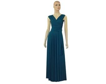 Dark Teal Convertible Dress Bridesmaids Infinity Wrap Dress Multi Way Transformer Prom Dress XS S M L XL 1XL 2XL 3XL 4XL 5XL
