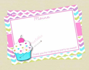 Printable Cupcake Thank You Note/Girl Birthday/Sweet Treat Birthday