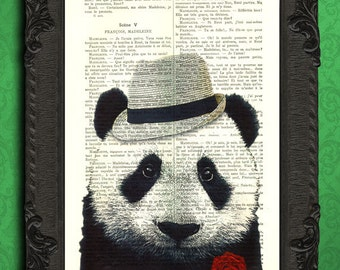 panda bear art print, mafia panda book page art | italian style panda, mafia party decor, panda wall art book page print