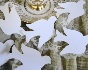 White Dove Die Cuts, bird confetti- baby shower- wedding-table decoration 20 count