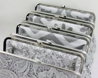 Grey Lace Clutch with Multi Lining Bride Clutches / Bridesmaid Gifts / Wedding Clutch - Set of 4