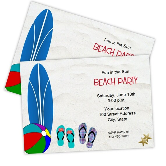 Beach Party Invitations DIY Printable Template Instant