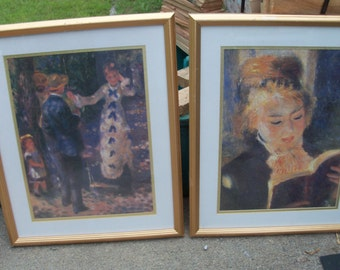 Framed Art Pair Monet Famous Clown & Portrait Of A Lady Recent Repro Guilded Frame Nicely Matted