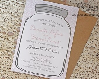 20 Mason Jar and Lace Wedding Invitation