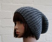 Chunky knit GreyBeanie Hat/ knitted hat for Men/ woolen Hat/ winter hat/Slouchy Beanie