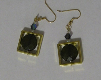 Circle in Square Resin Jeweled Bead Earrings with Gold Plate Wires