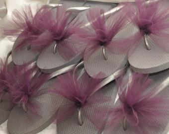 Free USA Shipping! Custom WEDDING Flip Flops, BRIDESMAID Flip Flops, Simple & Elegant Tulle, Bridesmaid Gifts, Bridal Gift, Beach Weddings