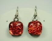 Dangle Earrings, Dichroic Glass, Copper Gold,  er19