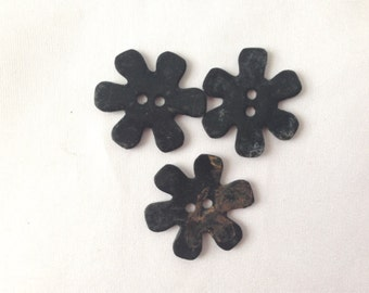 Vintage Buttons, Daisy Shaped Buttons, 1940s Buttons, Collectible Buttons, Three Buttons, Brown Buttons, Black Buttons