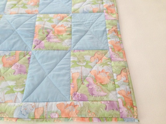 Darling Hand Made baby quilt, Blue with Dinosaurs, Baby Boy Gift