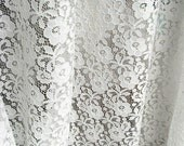 off white stretch Lace Fabric, Elastic Lace Fabric, retro embroidered floral lace, by the yard