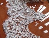 white alencon trim, cord lace, bridal lace trim, veil trim lace, cord lace trim CG063DB