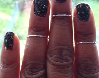 Midi Ring Set of 3 Sterling Silver Hammered Rings  Mothers Day Gift Birthday Gift