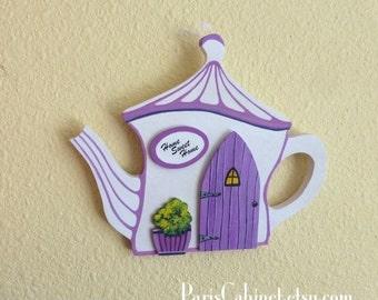 Tea Pot Orchid Cottage in the Fairy Village Lavender Light Purple Door House Miniature Door Art Architectural Art Acrylic Painting on Wood