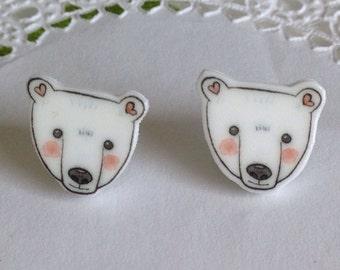 Polar Bear Earrings Polar Bear Jewelry Polar Bear Posts Polar Bear Stud Earrings Polar Bear Jewellery