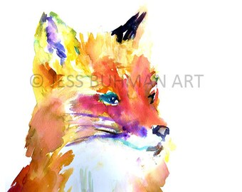 Fox Watercolor Print, Print of Fox Painting, Fox Illustration, Abstract Fox Art, Baby Fox Art, Nursery Watercolor, Baby Animal Art, Fox Art