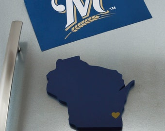 """Milwaukee Brewers """"State Heart"""" Magnet, handcrafted wood with official team colors"""