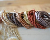 Hand dyed Silk Cords  - Set of 6 - beige brown colors silk ribbons earth colors