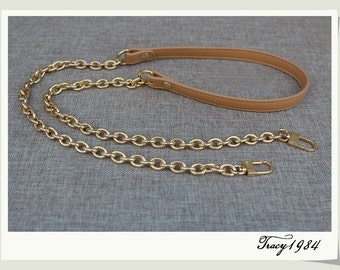 Tan PU Leather Purse Strap with Gold Chain