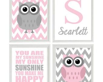 Nursery Art Owl Print Set  - You Are My Sunshine Quote - Name Initial Gray Pink - Chevron - Baby Girl Room - Custom Wall Art -