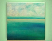 """abstract painting, landscape painting, canvas art,original acrylic, calming colors  """"Calm on the sea"""" 24x24 by M. Schöneberg"""