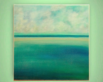 "abstract painting, landscape painting, canvas art,original acrylic, calming colors  ""Calm on the sea"" 24x24 by M. Schöneberg"