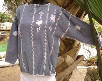 Large Vintage Ethnic Denim and Crochet Blouse with embroidery - Approx. Woman's Size 14/16
