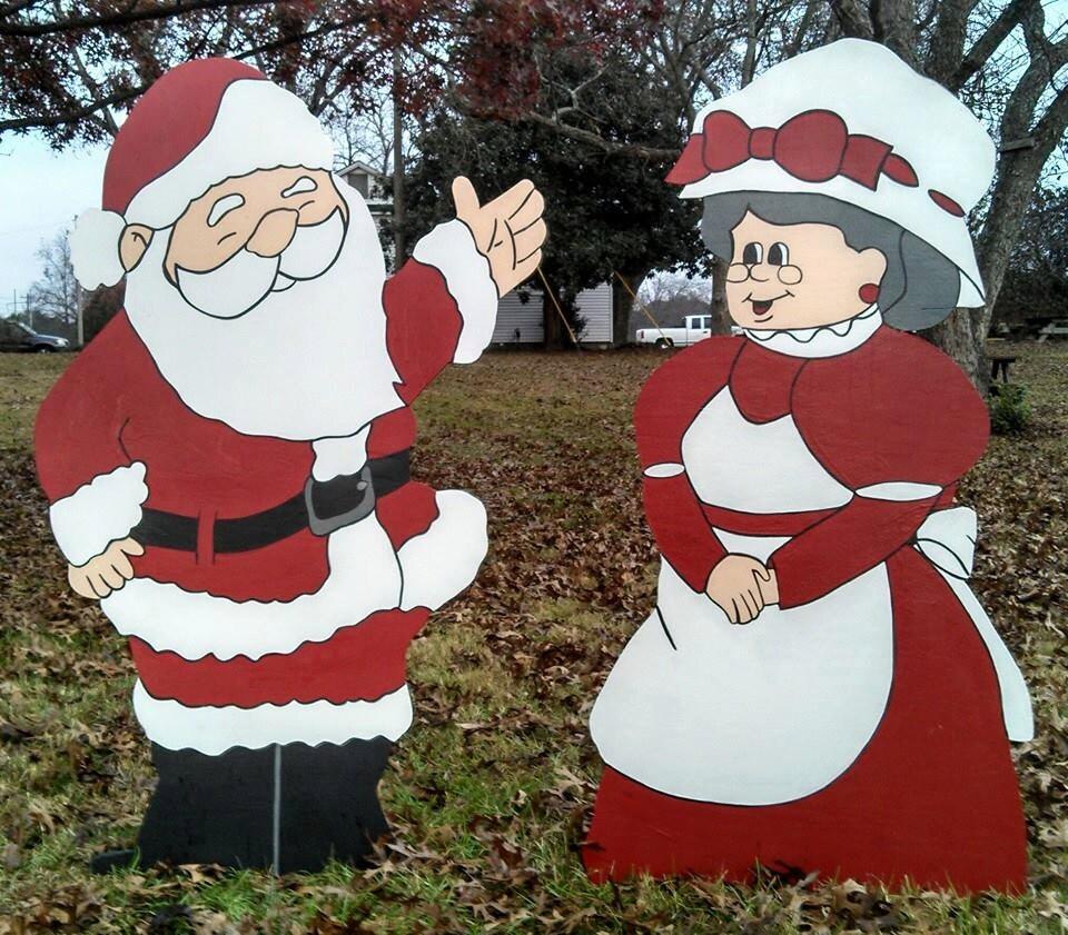 Santa and mrs santa christmas yard art decorations christmas for Yard cutouts